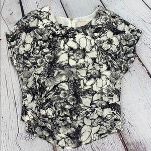 I. Madeline floral cropped blouse, black & white S